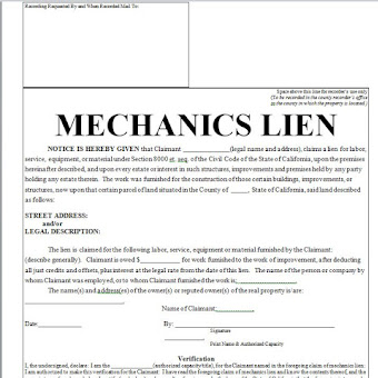 Mechanicsu0027 Lien   Printable Contract In Doc Word  Printable Contracts