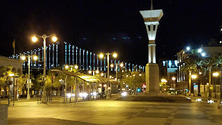 Ferry terminal area at night