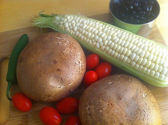 Portobello Mushrooms, Corn, Black Beans, Pepper and tomatoes