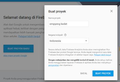 Buat Proyek di Firebase