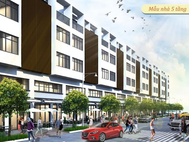 Phối cảnh mẫu nhà liên kế 5 tầng tại dự án khu dân cư Nhơn Đức