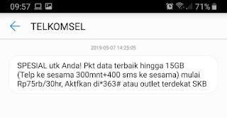 saya mendapatkan notifikasi promo paket combo telkomsel 15gb dengan cara ini