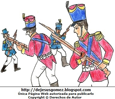 Imagen de la Batalla de Junín en pleno enfrentamiento. Dibujo de la Batalla de Junín de Jesus Gómez