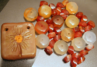 Carnelian chips & beads (and a ceramic tile) :: All Pretty Things