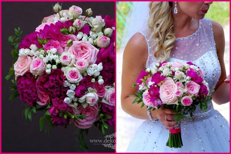 Bukiet ślubny -różowe i fuksja kwiaty frezji, róż i goździka | opolskie