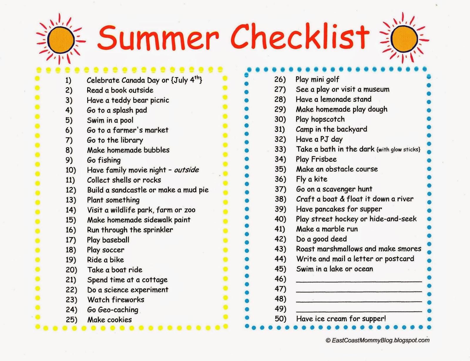 Rosana S English Blog Summer Bucket List