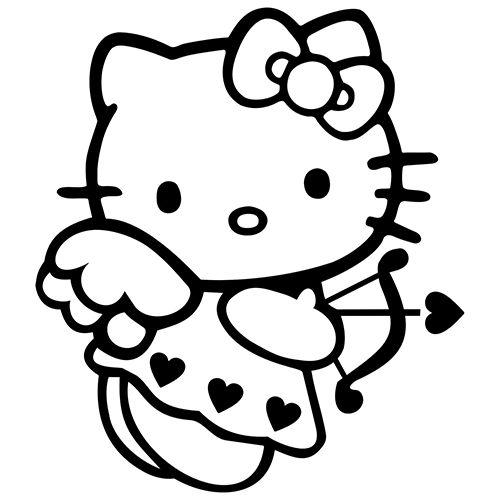 Tranh tô màu mèo hello kitty làm thần tình yêu
