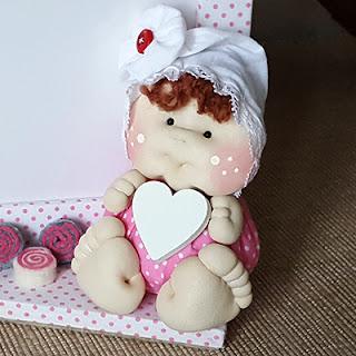 portafoto bambolina soffice tessuto