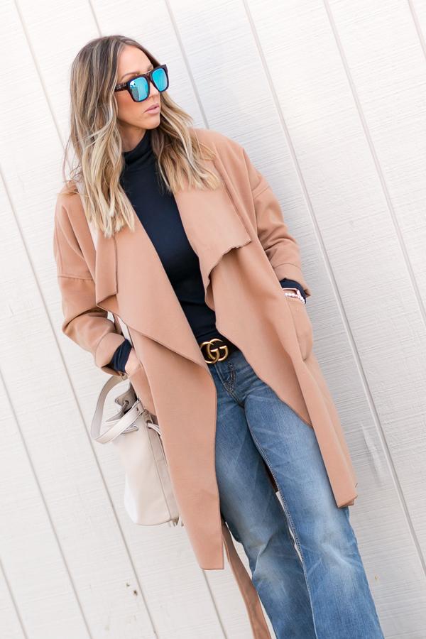 long tan wrap coat