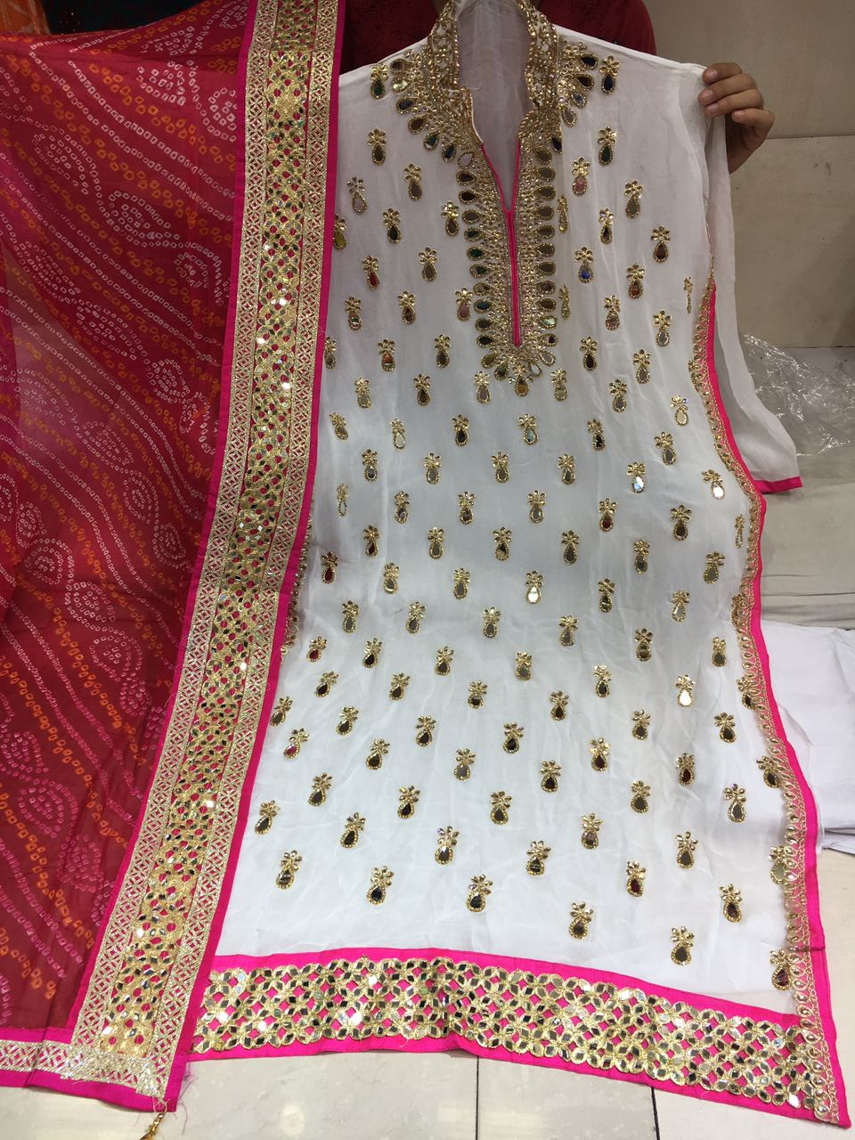 42d9a53dfd Georgette gota patti and mirror work online for order call or whatsapp on  9768897928