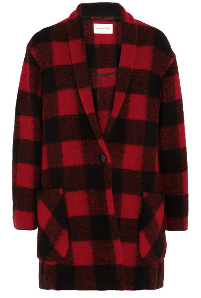 plaid print coat