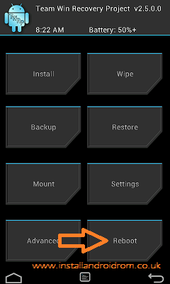 Reboot System TWRP
