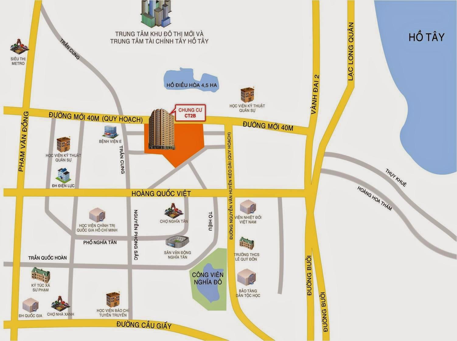 Vị trí CT2B và khu đô thị Nghĩa Đô