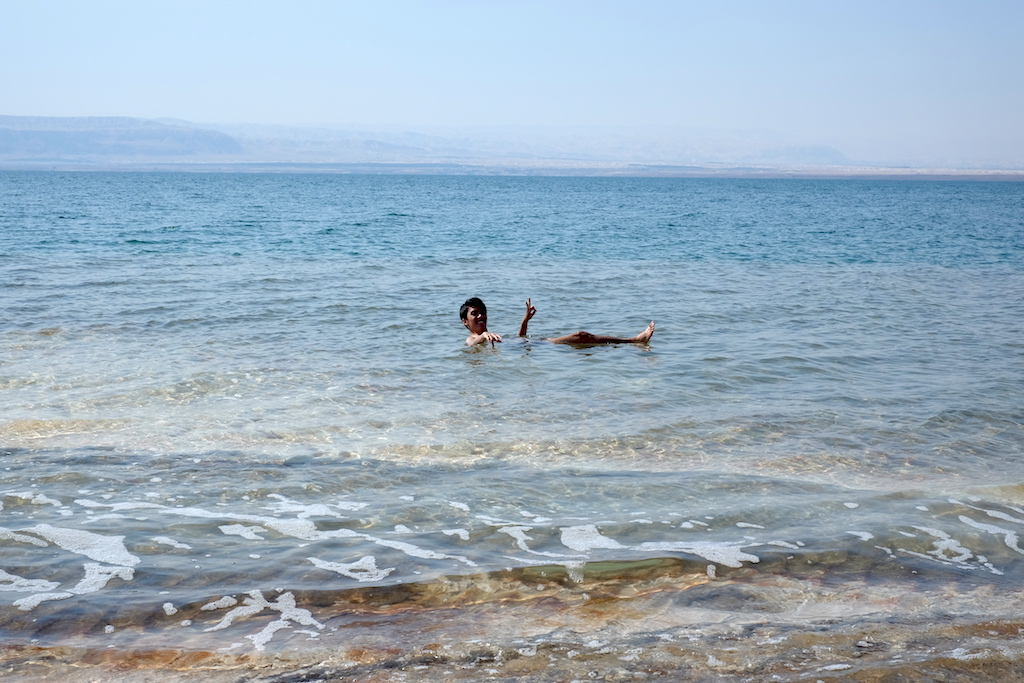 Floating in Dead Sea, Jordan
