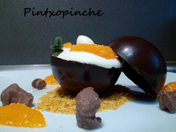 chocolate, fruta, mandarina, mousse, parfait, sin gluten, postre