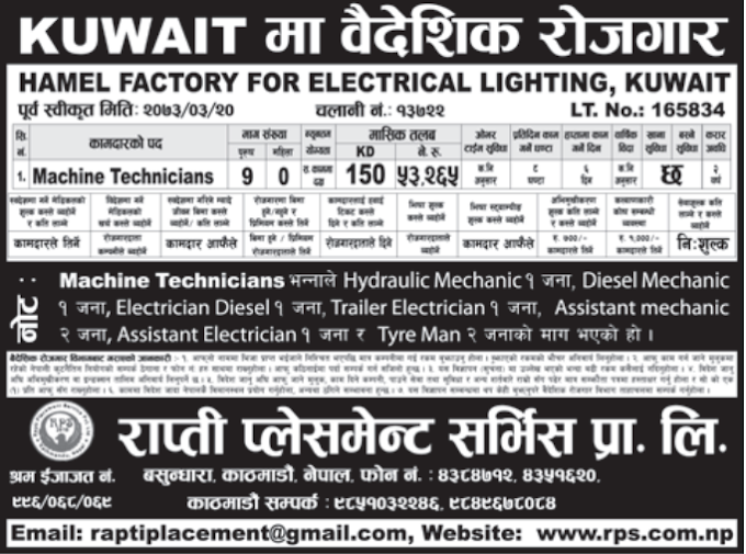Jobs For Nepali In Kuwait Salary -Rs.53,000/