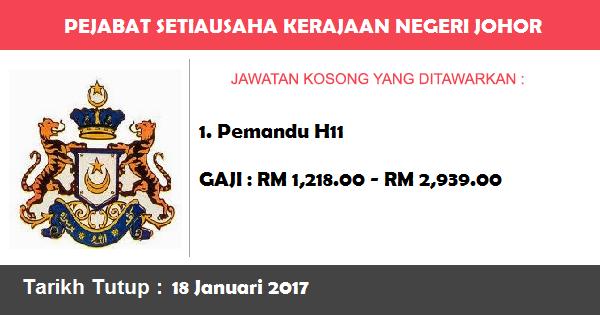 Jawatan Kosong di Pejabat Setiausaha Kerajaan Negeri Johor