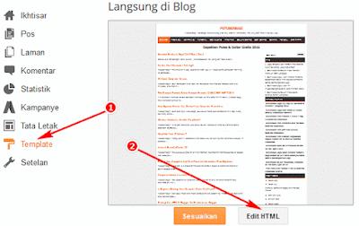 Masuk ke Template dan Edit HTML