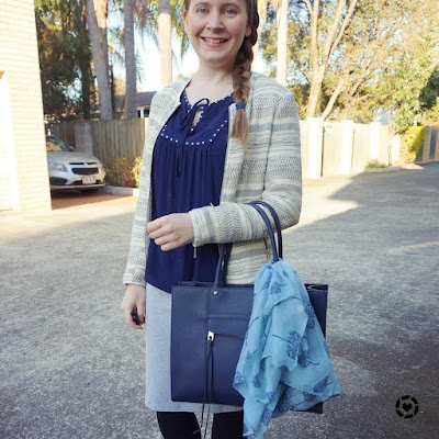 awayfromtheblue instagram jacquard blazer grey jersey pencil skirt navy top and bag MAB tote