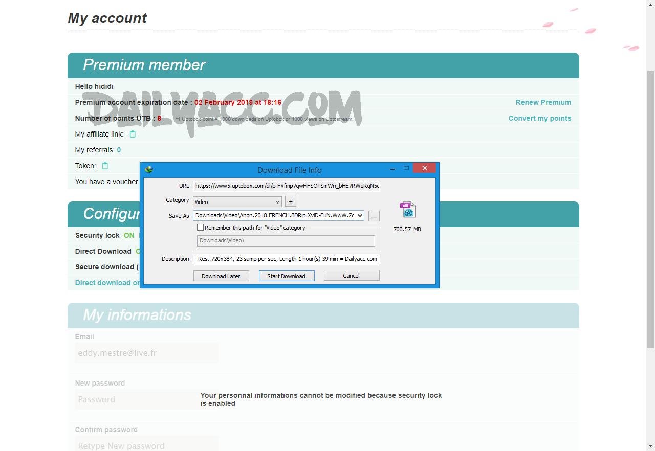 Uptobox.com Premium Account October 01, 2018 Premium account expiration date : 02 February 2019 at 18:16