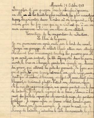 Cahier de rédactions, élève Hélène T., 10 ans, cours moyen 1ière année, 1917