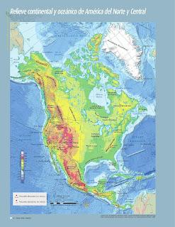 Apoyo Primaria Atlas de Geografía del Mundo 5to. Grado Capítulo 2 Lección 1 Relieve Continental y Oceánico de América del Norte y Central