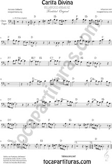 Partitura de Carita Divina Violonchelo y Fagot Partitura Sheet Music for Cello and Bassoon Music Scores