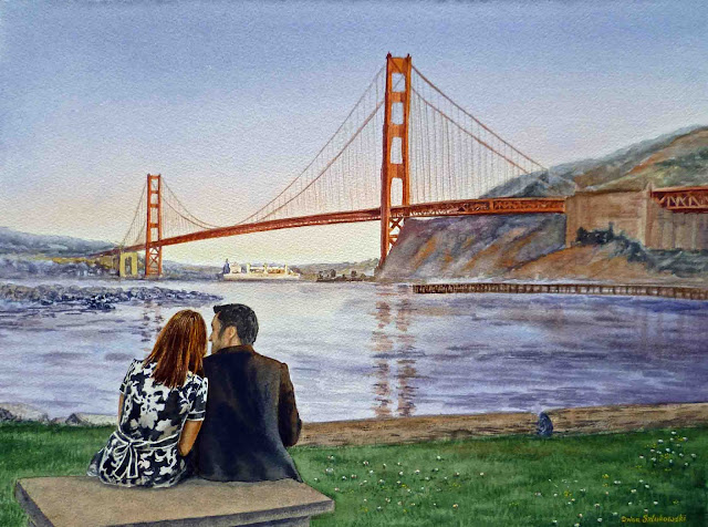 A couple at the Golden Gate Bridge watercolour art