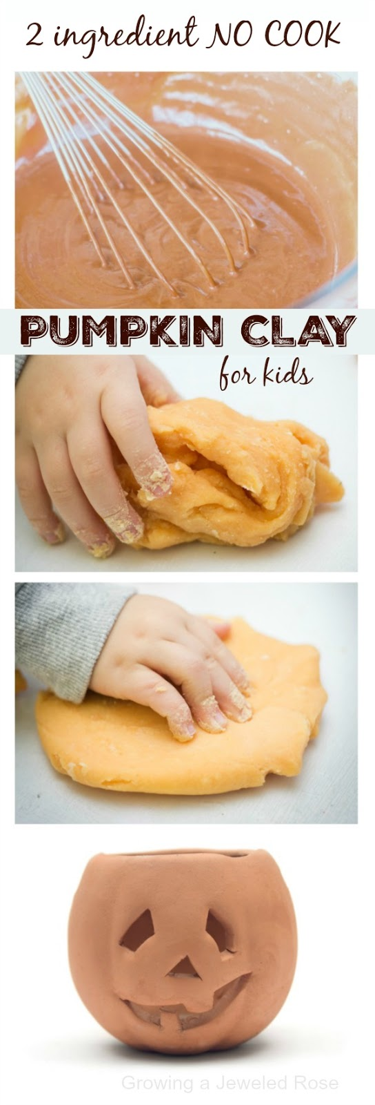 2 ingredient NO COOK pumpkin play clay for kids.  This dough is so delightfully squishy & FUN!  Perfect for Fall