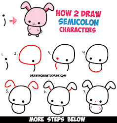 step draw easy drawing cartoon bunny characters simple drawings rabbit semicolon kawaii cartoons tutorial semicolons tutorials steps face drawinghowtodraw animals