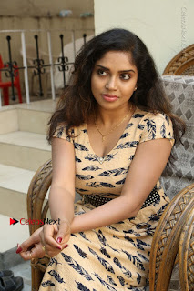 Telugu Actress Karunya Chowdary Stills in Short Dress at ATM Not Working Press Meet  0156.jpg