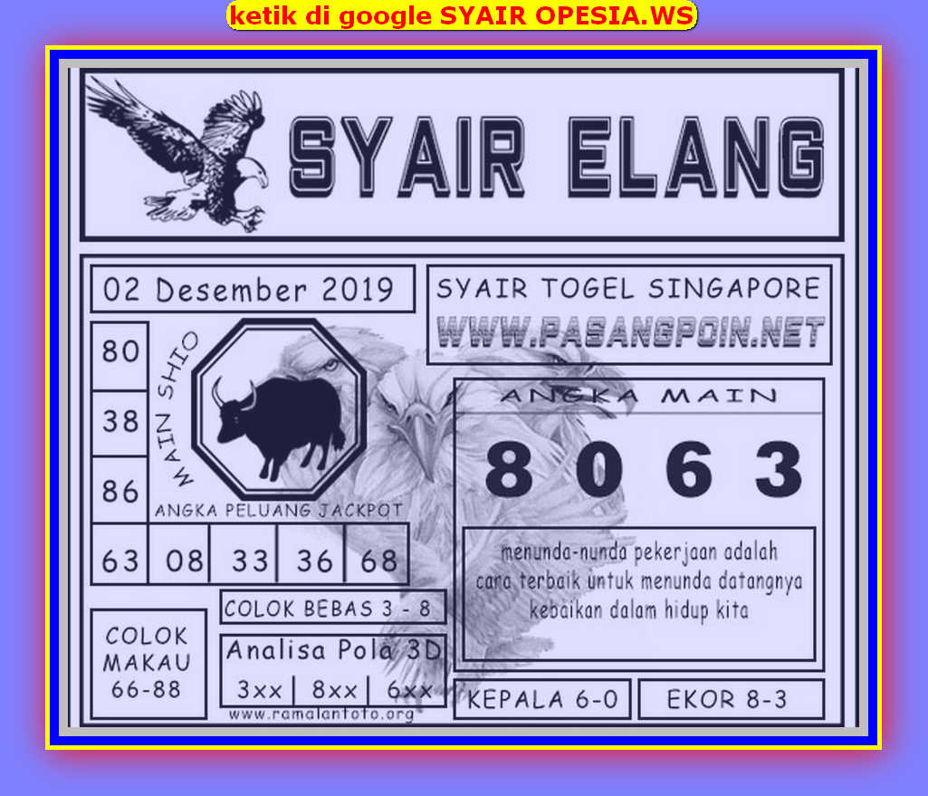 Kode syair Singapore Senin 2 Desember 2019 32