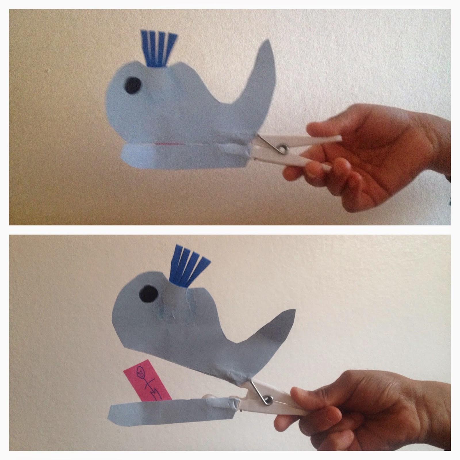 Clothes peg whale craft islam from the start for Whale crafts for kids