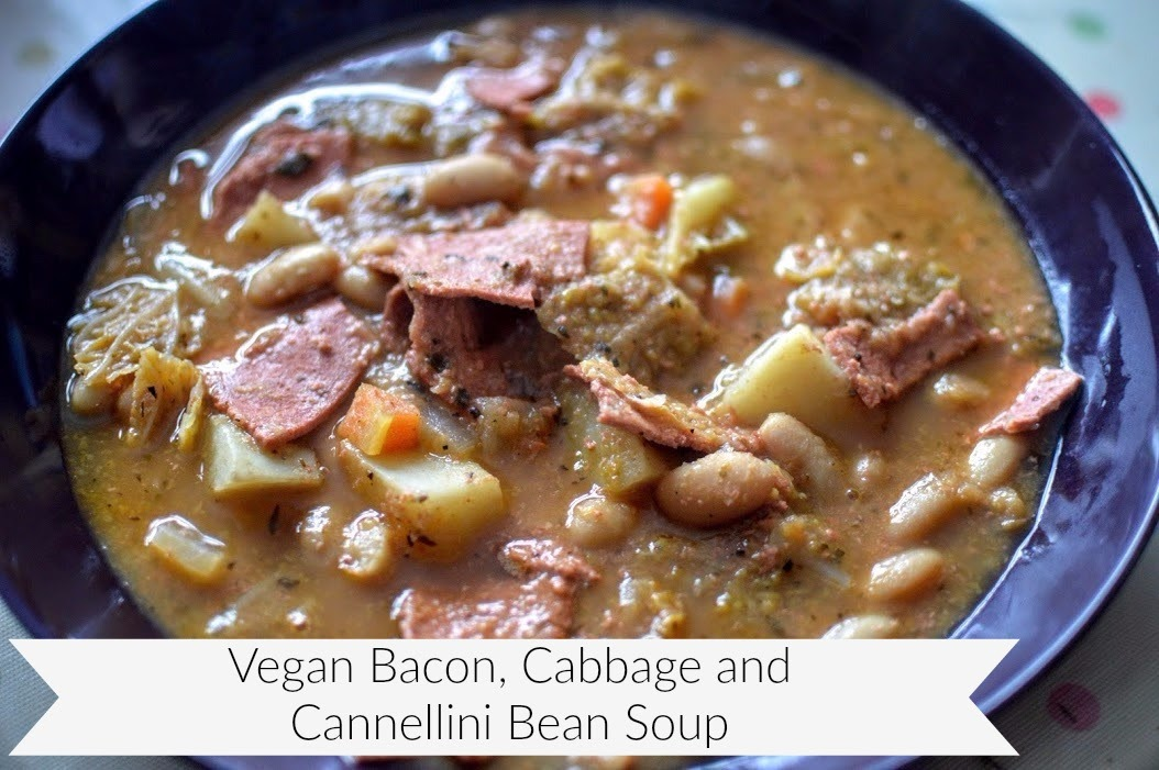 , Food:  Vegan Bacon, Cabbage and Cannellini Bean Soup