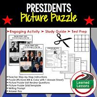 Presidents, Civics Test Prep, Civics Test Review, Civics Study Guide, Civics Interactive Notebook Inserts, Civics Picture Puzzles