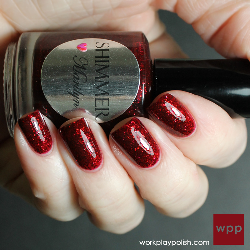 Shimmer Polish Marilyn over China Glaze Exotic Cranberry (work / play / polish)