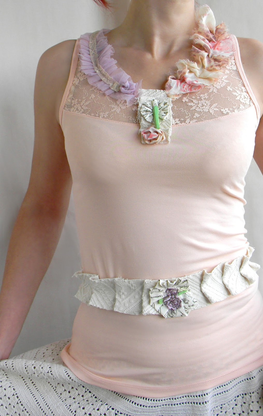 Summer Top Blouse with Waist Belt Romantic Vintage Inpired in Blush Pink Peach Pastels