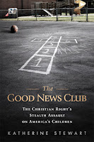 Cover of The Good News Club book, with a chalked hopscotch board in the shape of a cross on a playground
