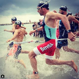 Swimmers at swim start, Challenge Roth triathlon