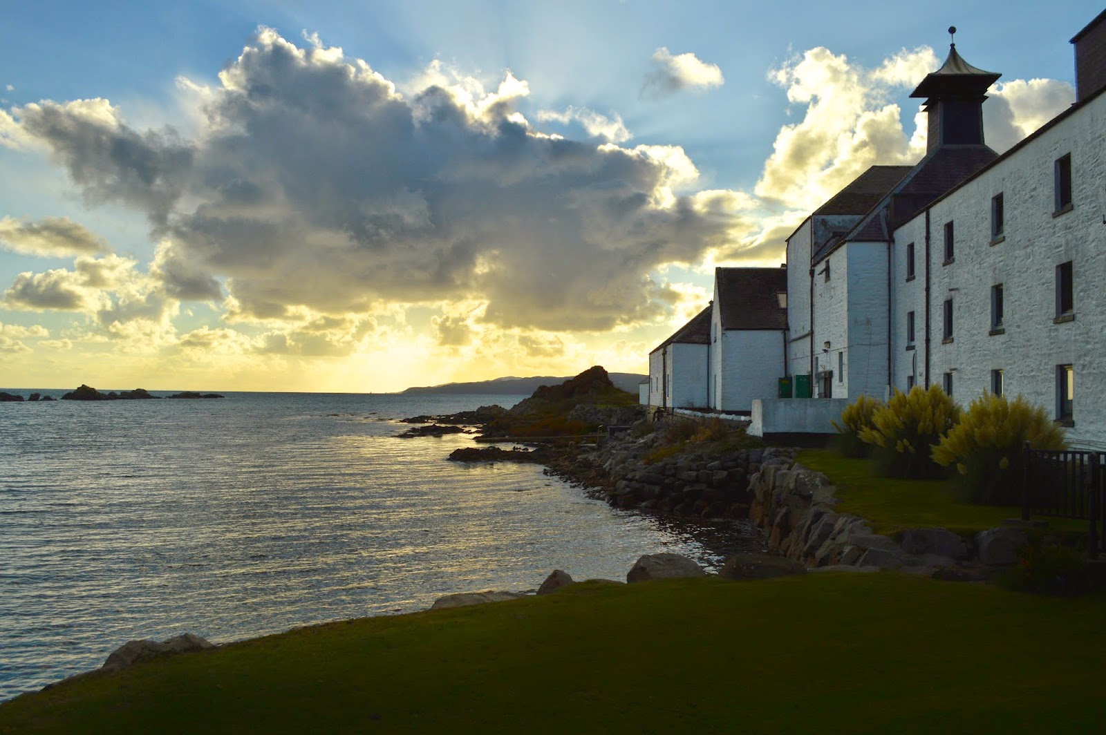 Laphroaig Distillery at sunset, Islay, Scotland