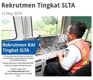 Rekrutmen PT.Kereta Api Indonesia (Persero) Mei 2016 Lulusan SMA/MA/SMK