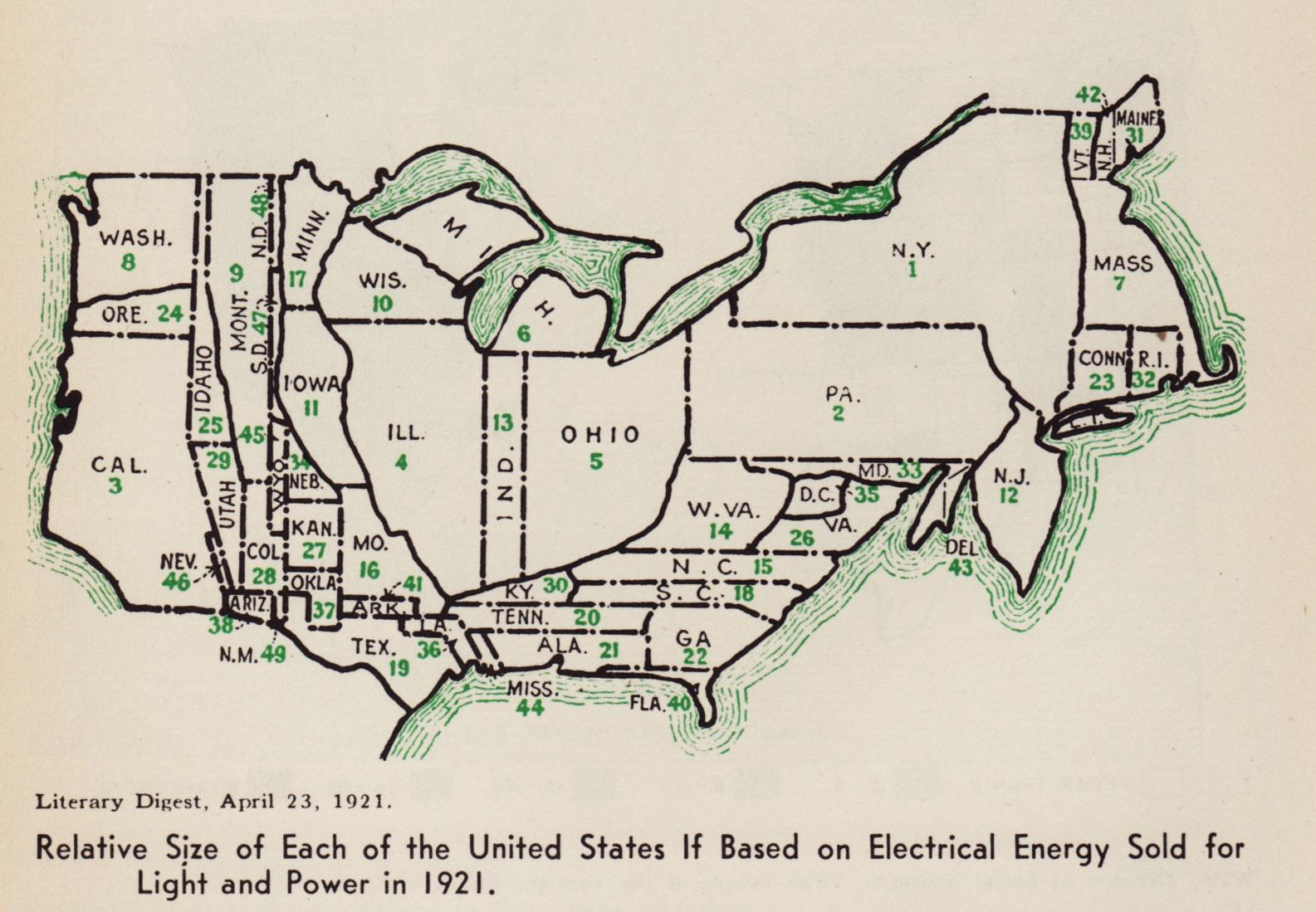 Relative size of each of the U.S. if based on electrical energy sold for light and power (1921)