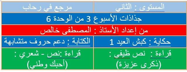 جذاذات للأسبوع الثالث من الوحدة 6 مرجع في رحاب اللغة العربية  المستوى الثاني
