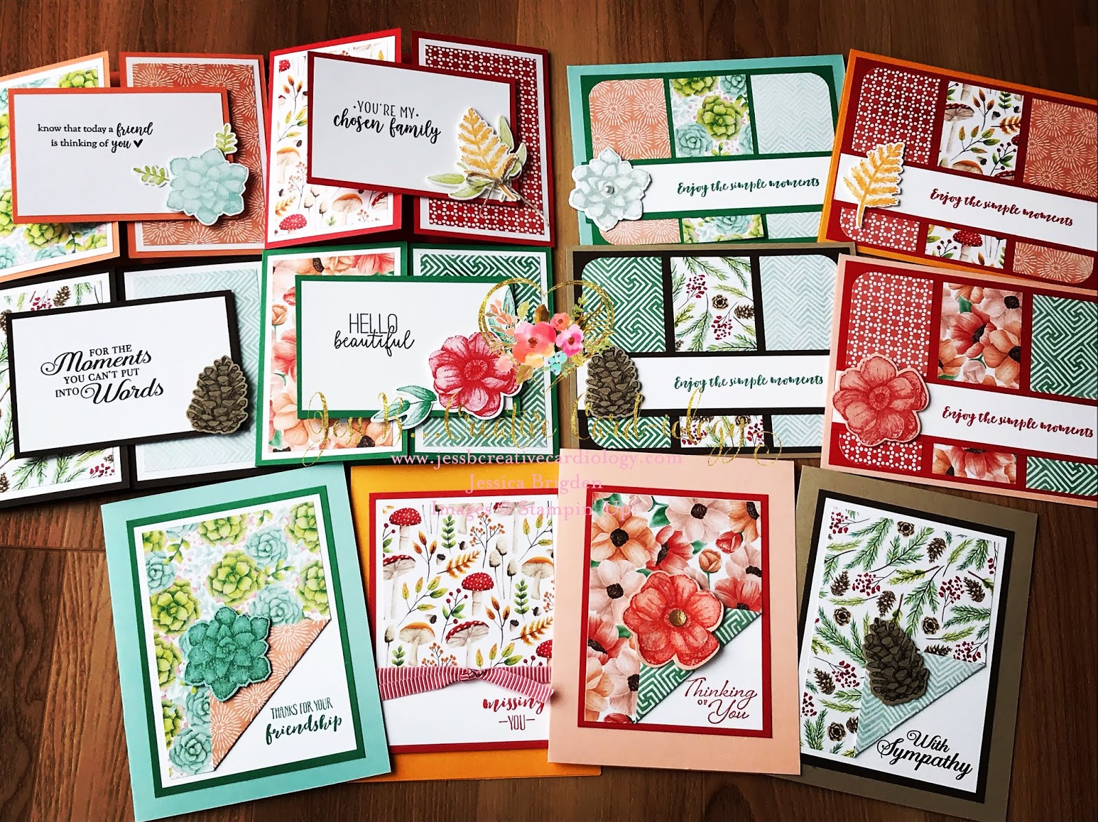 a dozen new stampin' up painted seasons card designs