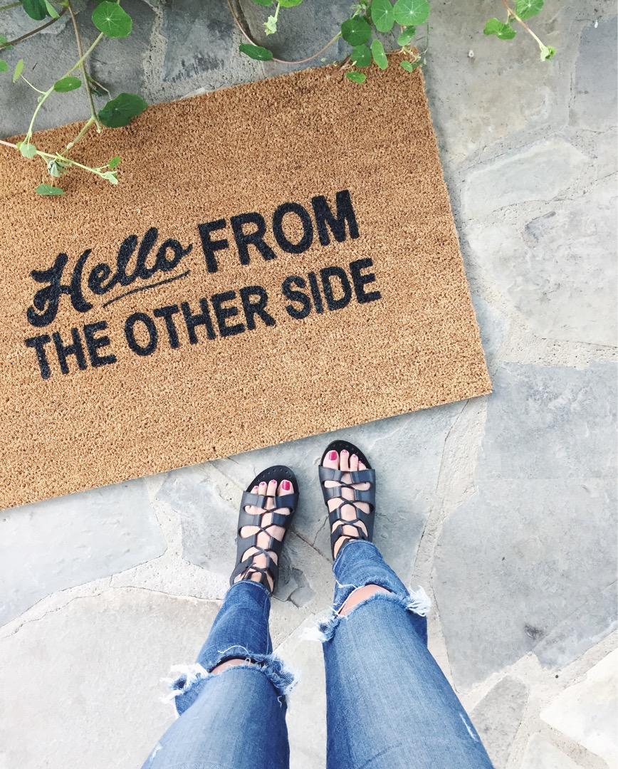 hello from other side door mat, cute door mat ideas