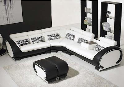 แบบห้องรับแขกสีขาว ดำตกแต่งพรมสีขาว