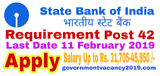 SBI SO Recruitment 2019 for Specialist Officers  42 Vacancies  Last Date 11 February 2019 governmentvacancy2019.com