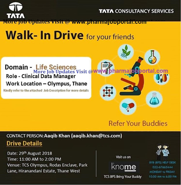 TCS Walk In Drive for Experienced Candidates at 29 August