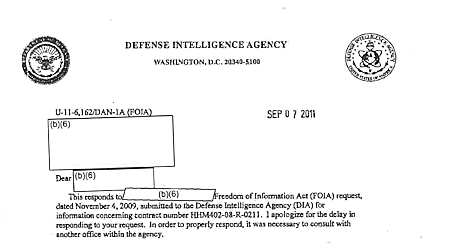 The Defense Intelligence Agency Withheld Pentagon UFO Program's Contract Awarded to Bigelow Aerospace Via 2011 FOIA Response