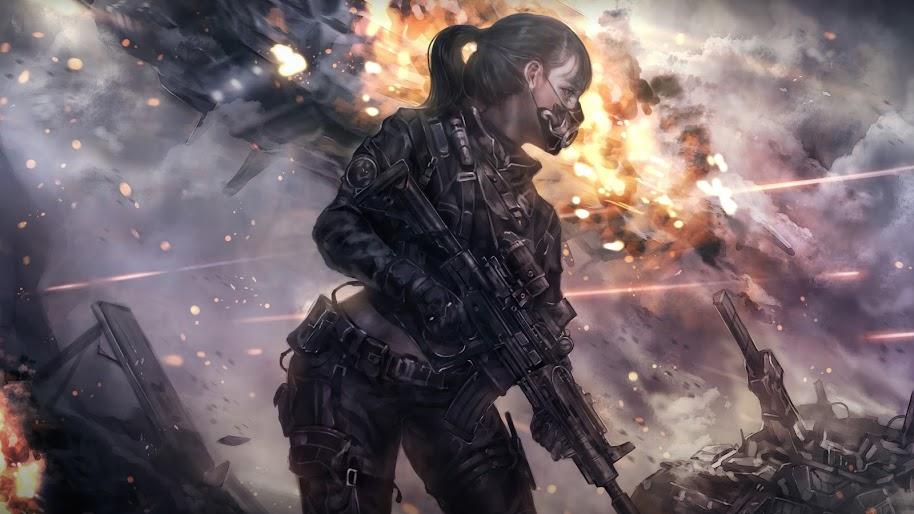 Sci Fi Anime Girl Soldier Rifle 8k Wallpaper 78